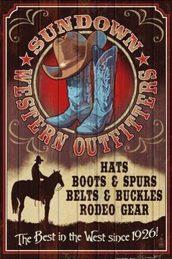 Hat and Boot Outfitters - Vintage Sign by Lantern Press