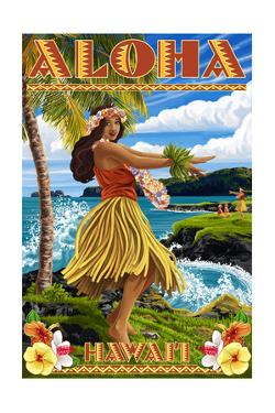 Hawaii - Aloha - Hula Girl on Coast (Flower Border) by Lantern Press