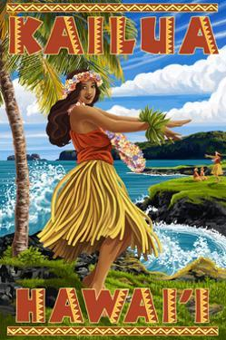 Hawaii Hula Girl on Coast - Kailua, Hawaii by Lantern Press