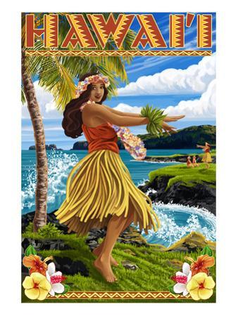 Hawaii Hula Girl on Coast by Lantern Press