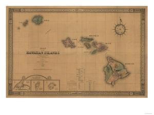 Hawaii - Panoramic State Map by Lantern Press