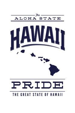 Hawaii State Pride - Blue on White by Lantern Press