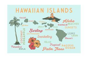 Hawaiian Islands - Typography and Icons by Lantern Press