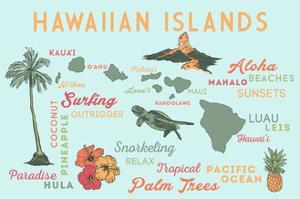 Hawaiian Islands (Version 2) - Typography and Icons by Lantern Press
