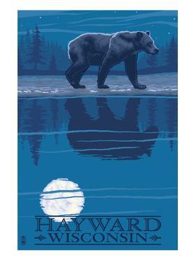 Hayward, Wisconsin - Bear at Night by Lantern Press