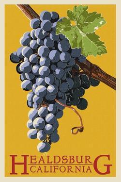 Healdsburg, California - Grapes - Letterpress by Lantern Press