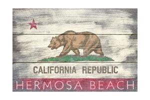 Hermosa Beach, California - Barnwood State Flag by Lantern Press