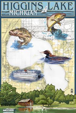 Higgins Lake, Michigan - Lake Chart by Lantern Press