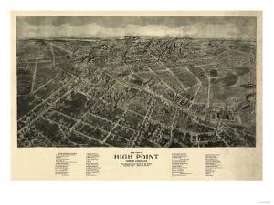 High Point, North Carolina - Panoramic Map by Lantern Press