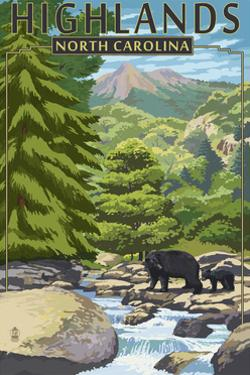 Highlands, North Carolina - Bear Family and Creek by Lantern Press