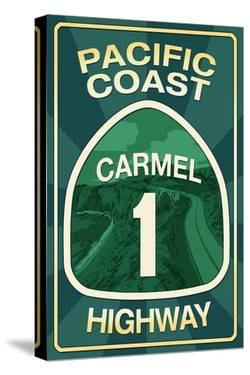 Highway 1, California - Carmel - Pacific Coast Highway Sign by Lantern Press