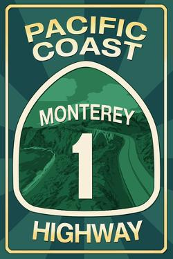 Highway 1, California - Monterey - Pacific Coast Highway Sign by Lantern Press