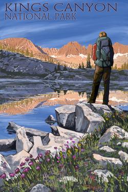 Hiker and Lake - Kings Canyon National Park, California by Lantern Press