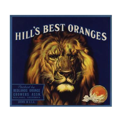 Hills Best Brand - Redlands, California - Citrus Crate Label by Lantern Press