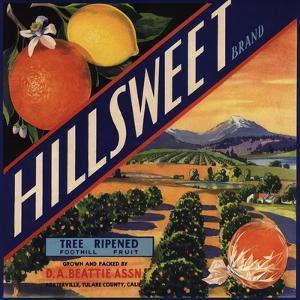 Hillsweet Brand - Porterville, California - Citrus Crate Label by Lantern Press