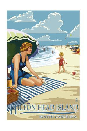 Hilton Head Island, South Carolina - Woman on Beach