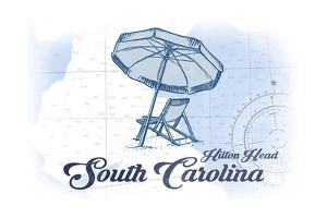 Hilton Head, South Carolina - Beach Chair and Umbrella - Blue - Coastal Icon by Lantern Press