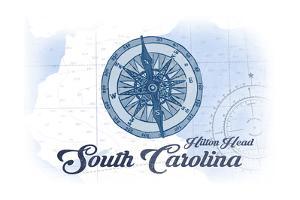 Hilton Head, South Carolina - Compass - Blue - Coastal Icon by Lantern Press