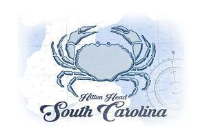 Hilton Head, South Carolina - Crab - Blue - Coastal Icon by Lantern Press