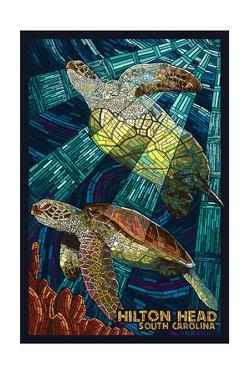 Hilton Head, South Carolina - Mosaic Sea Turtles by Lantern Press