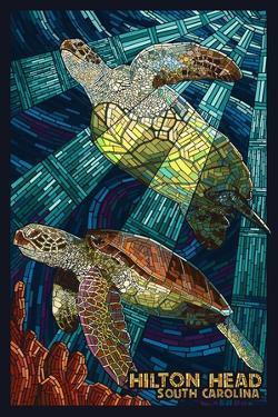Hilton Head, South Carolina - Mosaic Sea Turtles by Lantern Press