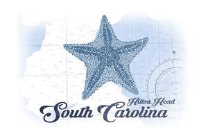 Hilton Head, South Carolina - Starfish - Blue - Coastal Icon by Lantern Press
