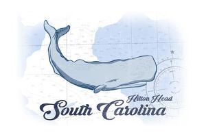 Hilton Head, South Carolina - Whale - Blue - Coastal Icon by Lantern Press