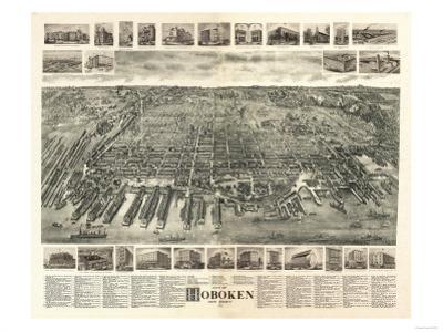 Hoboken, New Jersey - Panoramic Map by Lantern Press