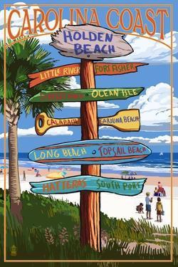 Holden Beach, North Carolina - Destination Sign by Lantern Press