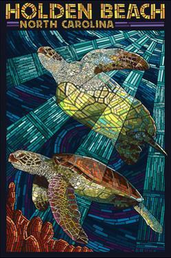 Holden Beach, North Carolina - Sea Turtle Paper Mosaic by Lantern Press