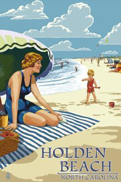 Holden Beach, North Carolina - Woman on Beach by Lantern Press