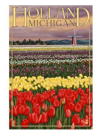 Holland, Michigan - Tulip Fields by Lantern Press