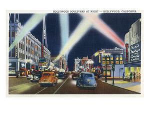 Hollywood, California - Hollywood Boulevard at Night by Lantern Press