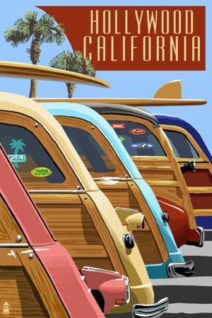 Hollywood, California - Woodies Lined Up by Lantern Press