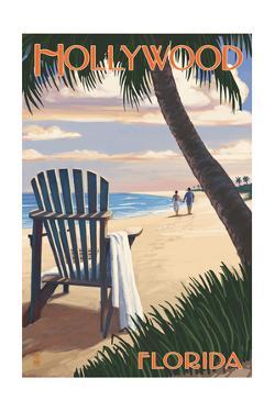 Hollywood, Florida - Adirondack Chair on the Beach by Lantern Press