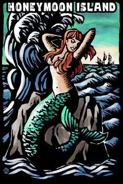 Honeymoon Island, Florida - Mermaid - Scratchboard by Lantern Press