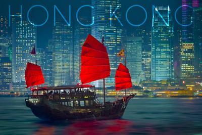 Hong Kong, China - Aqua Luna by Lantern Press