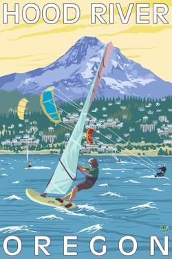 Hood River, OR - Wind Surfers & Kite Boarders by Lantern Press