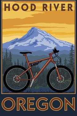 Hood River, Oregon - Mountain Bike Scene by Lantern Press