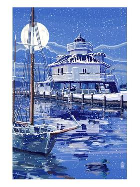 Hooper Strait Lighthouse in Winter - St. Michaels, Maryland by Lantern Press