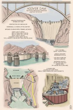Hoover Dam - Technical Poster by Lantern Press