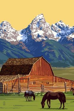 Horses and Barn with Mountains by Lantern Press