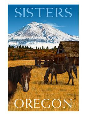 Horses and Mountain - Sisters, Oregon by Lantern Press