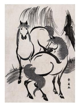 Horses under a Willow Tree, Japanese Wood-Cut Print by Lantern Press