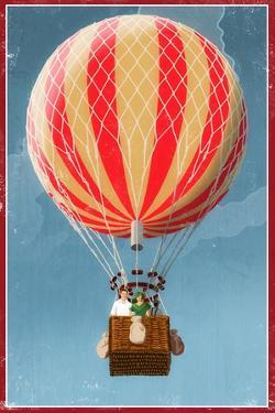 Hot Air Balloon Tours - Vintage Sign by Lantern Press