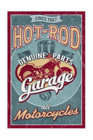 Hot Rod Garage - Motorcycles - Vintage Sign by Lantern Press