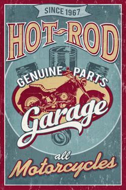 Hot Rod Garage - Motorcycles - Vintage Sign by Lantern Press