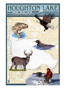 Houghton Lake, Michigan - Lake Chart by Lantern Press