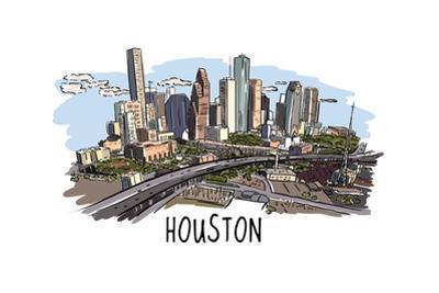 Houston, Texas - Cityscape - Line Drawing by Lantern Press
