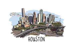 Houston, Texas - Cityscape - Line Drawing by Lantern Press